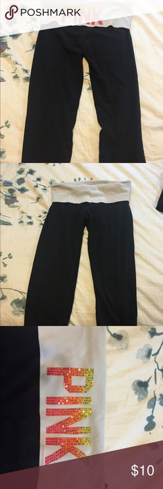 Pink Yoga Pants Some jewels missing, but in good condition. Open to offers! PINK Victoria's Secret Pants Leggings