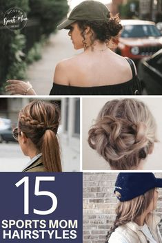 15 Game Day Hairstyles for a cute and comfortable look while you cheer on your player! #hairstyle #sportsmomhair #momhairstyles #hairdo #hairideas #summerhair #sportsmom