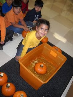 """So many ideas of things to do with pumpkins!  I love the """"sink or float"""" and the science hypothesis center..."""