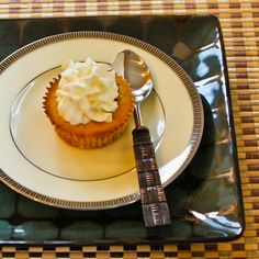 Recipe for Low-Sugar Spiced Pumpkin Mini Cheesecakes; use the combination of sweetener that you prefer in these delicious mini-cheesecakes, or use all sugar if you don't care if they're low-sugar! [from KalynsKitchen.com] #HealthyThanksgiving