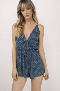 Get your hands on the Some Days Surplice Romper. Featuring a surplice look. Pair with sandals and your favorite shades.  - Fast & Free Shipping For Orders over $50 - Free Returns within 30 days!
