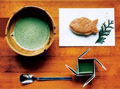A traditional green tea and bean curd pudding at Torindo, a sweet shop near the Tokyo National Museum, in Ueno.