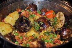 Stuffed Eggplant and Potato Shaak (Curry)
