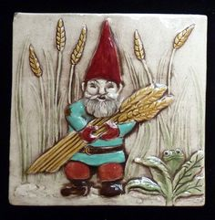 Relief carved, hand painted gnome man tile by Earth Song Tiles