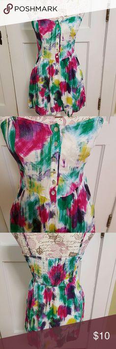 "Forever 21 Sundress Adjustable spagetti Straps  7 Buttoms down Front Bright colorful Design  Gathered Back 2 Pockets 30"" Length Dresses"
