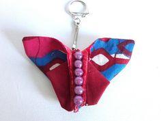 porte-clés, bijou sac, accroche accessoire, doublé, tissu, pliage origami papillon : Porte clés par doudous-mad-in-toudou