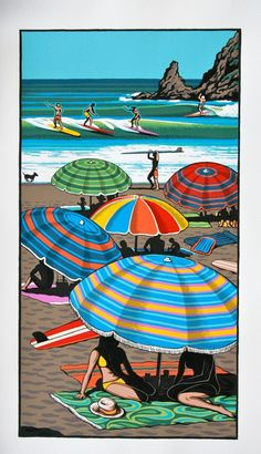 Coastal Carnival Print by Tony Ogle for Sale - New Zealand Art Prints Nz Art, Art For Art Sake, Painting Prints, Art Prints, Paintings, Parasols, Umbrellas, New Zealand Landscape, New Zealand Art