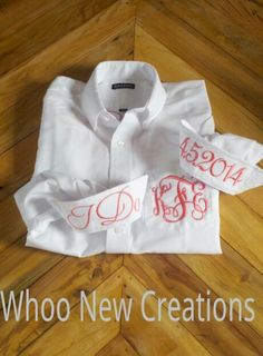 Brides oxford shirt. Like us on facebook. www.facebook.com/whoonewcreations Applique Monogram, Embroidery Applique, Bridal Party Getting Ready, Brides And Bridesmaids, Blue Plaid, Shirt Dress, T Shirt, Sewing Patterns, Oxford
