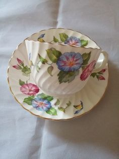 Vintage Royal Aynsley Bone China Morning Glory Swirl Pattern Tea Cup and Saucer