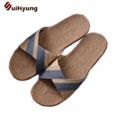 b4838ec29 Suihyung Men s Flat Slippers Comfortable Non-slip Linen Flip Flops Home  Bathroom Slippers Male Beach Slippers Hit Color Sandals