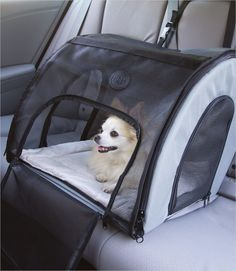 Traveling safely just got a whole lot better for dogs. Travel Safety Carrier provides a comfortable den environment with three easy access door panels, and no h