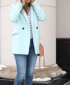 Polka dots + Mint coat