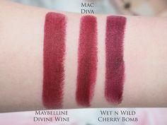 Maybelline Divine Wine vs. MAC Diva vs. Wet n Wild Black Cherry // 20 Mac lipstick swatched plus their dupes - Mateja's Beauty Blog
