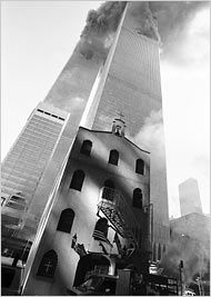 St. Nicholas Greek Orthodox parish in Lower Manhattan - was destroyed during the attacks on 9/11. The city refuses to allow it to be rebuilt. http://www.stnicholasnyc.com/