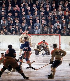 1957 Montreal Canadiens goalie Jacques Plante (without mask) in goal against the New York Rangers at Madison Square Garden on Dec. Photo by John G. Rangers Hockey, Hockey Goalie, Hockey Teams, Hockey Players, Hockey Stuff, Hockey Room, Pro Hockey, Goalie Gear, Bruins Hockey