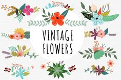 Combine our lovely Vintage Flowers Vector Set and create lovely bouquets. There´s a lot of possibilities!  The set includes 2 Illustrator EPS(8) vector files, 46 PNG files with transparent backgrounds. 300dpi. 4000x4000px aprox. Great for vintage wedding invitations, cards...   License: This product