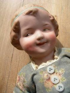 Adorable antique all bisque Gebruder Heubach type coquette doll