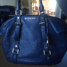 Michael Kors Navy Bedford Satchel In great condition .. Maybe carried 3x.. Light staining on inside pocket as pictured (lipstick) but doesn't hurt overall usage/quality of bag. Michael Kors Bags Satchels
