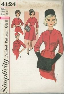 An unused ca. 1960's Simplicity Pattern 4124.  Misses' One-Piece Basic Dress with Two Skirts, Hat, Scarf and Muff Dress has round neckline with front extension, three quarter length set in sleeves and back zipper. Belt is self or purchased. V. 1 has slim skirt with back kick pleat. V. 2 has four gore skirt. V. 1 scarf has self or purchased fringe. V. 1 and 2 muff and hat are lined.