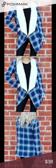 Brand New Blue Plaid Jacket No Shipment Until 12/19 Reserve  Brand New Fun, Stylish Blue Plaid Jacket Flawless Jackets & Coats