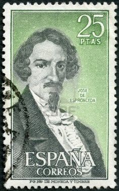 José de Espronceda ( 1808 — 1842) was a Romantic Spanish poet.,25 ptas Spanish stamp,  circa 1972