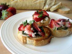 Strawberry, Basil & Goat Cheese Bruschetta @AmbitiousKitchen... Can't wait to try.