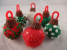 Edible Ornaments (made with chocolate chip cookie dough truffles)
