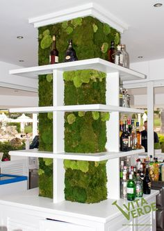 #MossWallideas  Place a #moss wall at your #bar. Choose a vertical surface which appears empty and add some green color to it. Create an attractive zone of refreshment that tells people they came to a place of good energy!