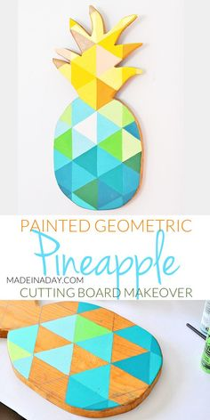 53 ideas for geometric wall art diy pattern Diy Cutting Board, Wood Cutting, Diy Wall Art, Diy Art, Wood Wall Art Decor, Wood Art, Pineapple Painting, Geometric Wall Art, Geometric Painting