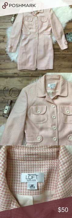 """• LOFT peach peacoat • Gorgeous pink peach color with cream buttons and lining. Very rarely worn and in excellent condition! One small spot on the bottom hem and then on the inside shown in pictures. Such a sweet way to keep the cold away! Length 32"""" bust 16"""" laying flat and buttoned. It is a petite size! LOFT Jackets & Coats Pea Coats"""