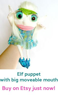 Puppet with big moveable mouth | puppets • hand puppets • finger puppets • muppets • bibabo • puppet theater • puppet diy • puppets for kids to make • muppets funny • muppets party • muppet quotes • muppets birthday party • elf | ★ bozhenafelt.etsy.com