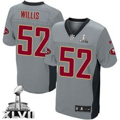 Mens Nike San Francisco 49ers #52 Patrick Willis Elite Grey Shadow Super  Bowl XLVII NFL