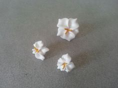 White flowers ring and earrings studs