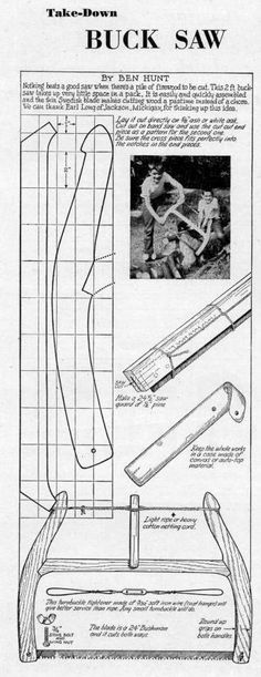 How to make a Buck Saw Antique Tools, Old Tools, Vintage Tools, Woodworking Hand Tools, Woodworking Plans, Woodworking Projects, Buck Saw, Bois Diy, Homemade Tools