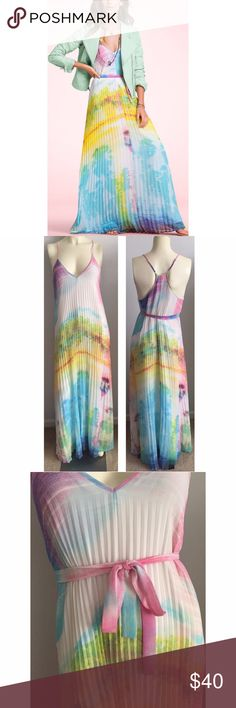 """Victoria's Secret watercolor accordion maxi dress Gorgeous! Fully lined with adjustable racerback spaghetti straps. Bust across front 16"""". Length 48"""". Excellent condition! Reasonable offers welcome. Victoria's Secret Dresses Maxi"""