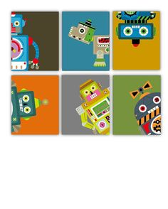 Robot prints Etsy listing at http://www.etsy.com/listing/125305657/nursery-art-for-boys-robots-art-prints