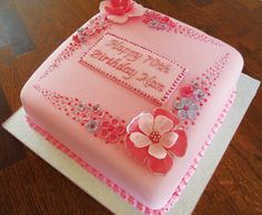 75th Birthday Cakes For Women | Pink Flowery 70th Birthday Cake |