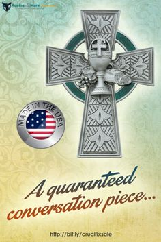 This elegant pewter celtic communion cross with green enamel has a chalice, grapes and bread in the center and measures 4 3/4inches in length. This comes in a gift box and made in USA.