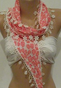 Pink Elegance Shawl \ Scarf with Lace Edge by womann on Etsy