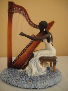 MELODY FIGURINE by ANNIE LEE                                                                                                                                                                                 More African Figurines, African American Figurines, Black Figurines, African American Art, African Art, Artist Canvas, Canvas Art, Annie Lee, Futuristic Art