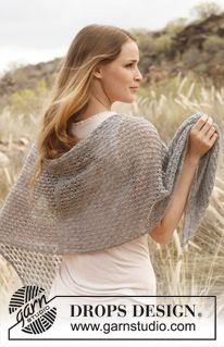 """Sweet Cloud,  a knitted DROPS shawl with lace pattern in """"Lace"""". ~ DROPS Design"""