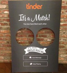 It's a match! Tinder photo booth for couples who met on Tinder.