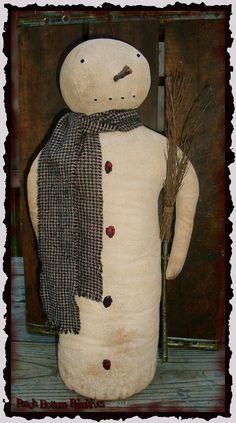 Primitive Simple Snowman Stump DollChristmas by PrimsbyDenise, $5.50
