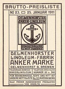 Peter Behrens, Price list Ankermarke, 1907. Behrens wirkte ab 1904 als künstlerischer Beirat der Anker-Linoleumwerke. Werksdirektor war Gustav Gericke, der – später auch als Vorstand des Deutschen Werkbunds – dem zeitgemäßen Gedanken folgte, die Kunst und der Industrie miteinander zu versöhnen. Die Arbeiten sind ein Vorspiel für Behrens' Berufung zur AEG. Oldenburg, Corporate Design, Peter Behrens, Jugendstil Design, Monopoly Board, Uni, Germany, Signs, Architecture