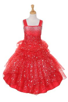 Girls Dress Style 4030 - RED Beaded Organza Pick Up Dress  Stand out like a shooting star with this ultimate party dress. It is so fun and festive and we just love it. The bodice is organza and the entire dress is flocked with sparkly star and floral designs. The dress is beautifully beaded on the bodice.  http://www.flowergirldressforless.com/mm5/merchant.mvc?Screen=PROD&Product_Code=CC_4030R&Store_Code=Flower-Girl&Category_Code=Red