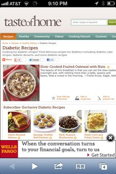 Diabetes - Diabetic Recipes http://www.tasteofhome.com/Recipes/Healthy-Eating/Diabetic-Recipes