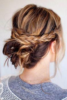 Casual updos for medium-length hair - 12 great styling ideas, Lässige Hochsteckfrisuren -mittellange-haare-zopf-locker, Updo Hairstyles Tutorials, Up Hairstyles, Pretty Hairstyles, Braided Hairstyles, Braided Updo, Summer Hairstyles, Wedding Hairstyles, Everyday Hairstyles, Boho Updo