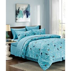 Textile City Light Blue Botanical Comforter Set ($24) ❤ liked on Polyvore featuring home, bed & bath, bedding and comforters