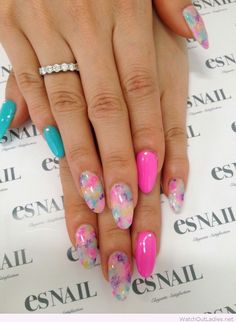 Pink and blue gel nails
