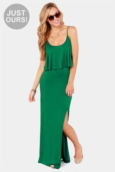 LULUS exclusive flounce back green maxi dress Sexy Dresses, Cute Dresses, Vintage Dresses, Casual Dresses, Summer Dresses, Long Dresses, Green Maxi, Green Dress Casual, Evening Dresses